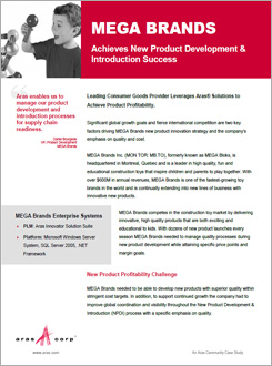 MEGA Brands Achieves New Product Development & Introduction Success with Aras
