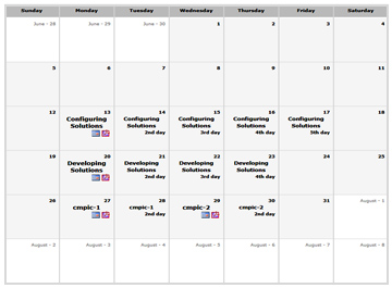Aras Training Calendar